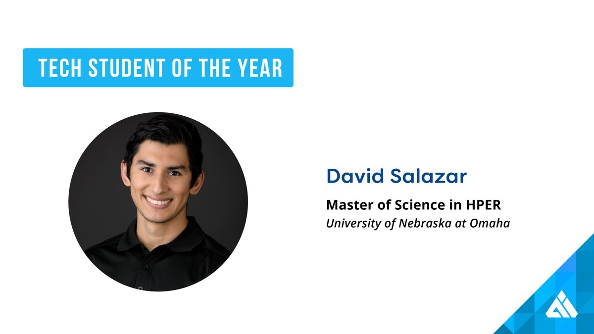 Congratulations to the Tech Student of the Year: David Salazar! Salazar is completing a doctoral degree in the department of biomechanics at UNO, where he has developed 3D printed anatomical models for surgical planning. #AIMTechAwards https://t.co/j67V0z0HMW