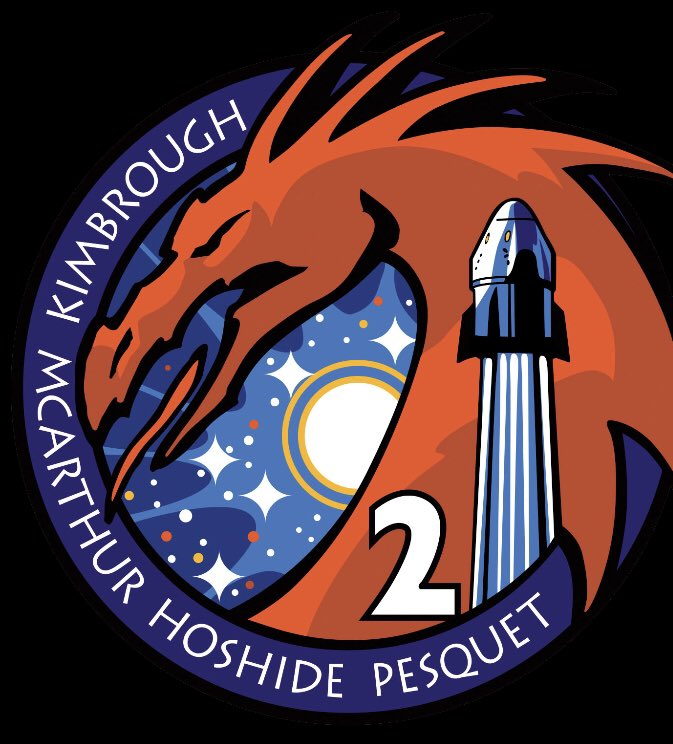 Excited to reveal our Crew-2 mission patch!  The determined expression of the Dragon in the patch reflects the strength of the team and their contribution to the exploration of space  @Thom_astro @Astro_Megan @Aki_Hoshide #nasa #spacex #iss #space