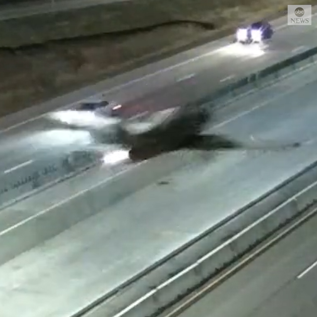 EMERGENCY LANDING: Traffic cams captured the moment a small plane touched down on Interstate 35 in Minnesota. The plane crashed into a vehicle, but no one was injured.