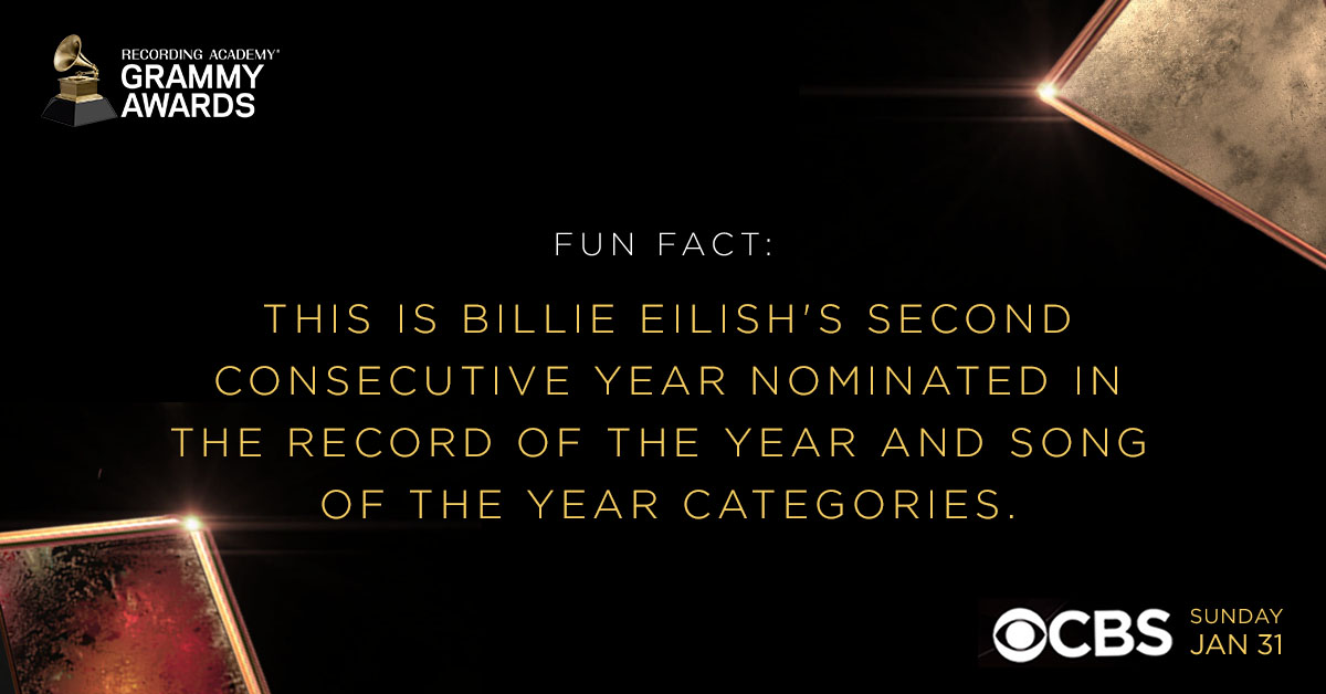 This is #BillieEilish's second year in a row being nominated for Record Of The Year and Song Of The Year, previously winning in both categories at the 62nd #GRAMMYs: