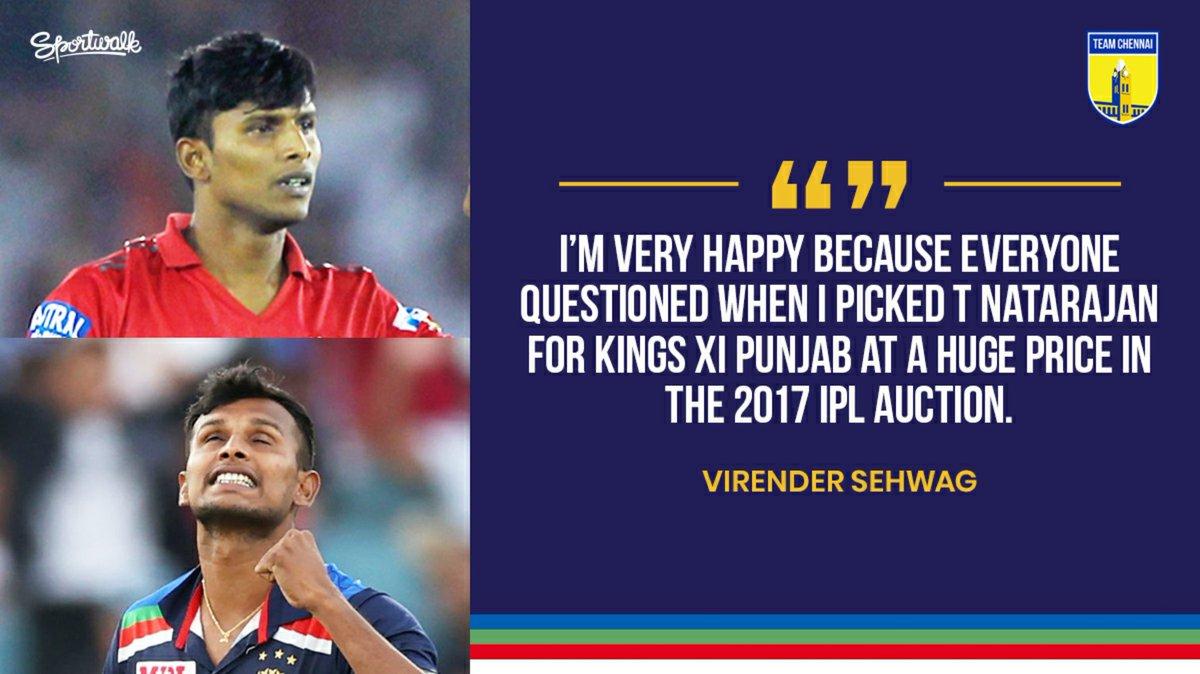 💙👏 Kudos to Sehwag for recognising the talent in Natarajan after the impressive super over in TNPL 2016.  📸 Getty/BCCI • #virendersehwag #INDvAUS #INDvsAUS #AUSvIND #AUSvsIND #IPL #IPL2020 #teamindia #natarajan #tnatarajan #cricket #sportwalk
