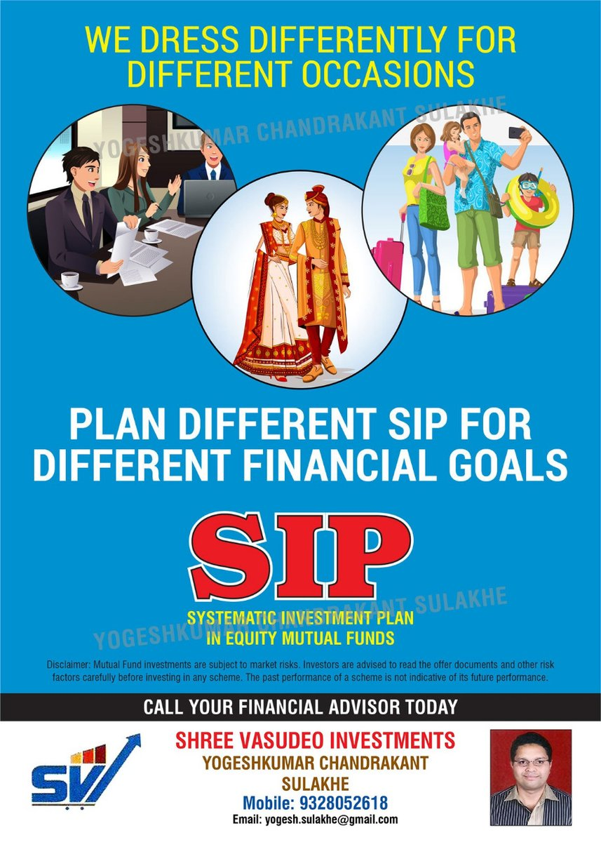 'PLAN DIFFERENT SIP FOR DIFFERENT FINANCIAL GOALS' Visit:   Call: 9328052618   #SIP #mutualfunds #mutualfundssahihai #liquidity #mutualfundinvestment #liquiditymanagement #investment #investmentplans #LifeInsurance #insuranceconsultant #wealthmanagement