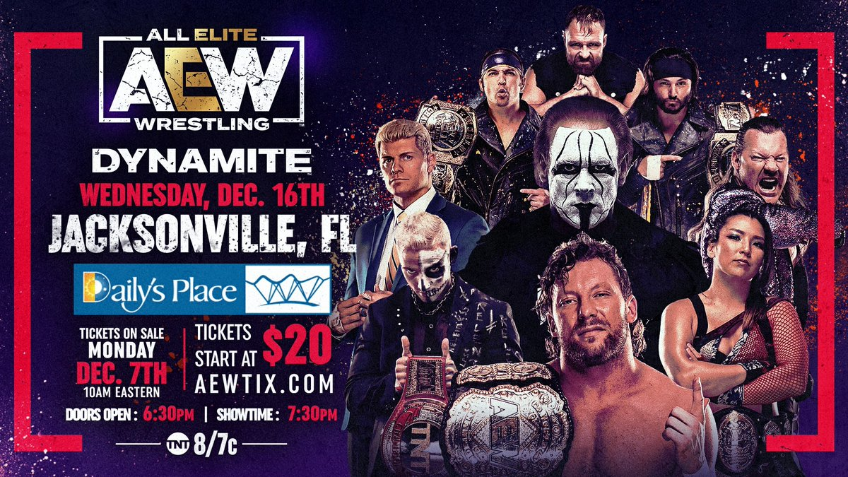 Tickets for the Wednesday, Dec 16th episode of #AEWDynamite go on-sale THIS MONDAY, Dec 7th at 10am EST and start at $20. Visit AEWTIX.com for full event details & safety guidelines.