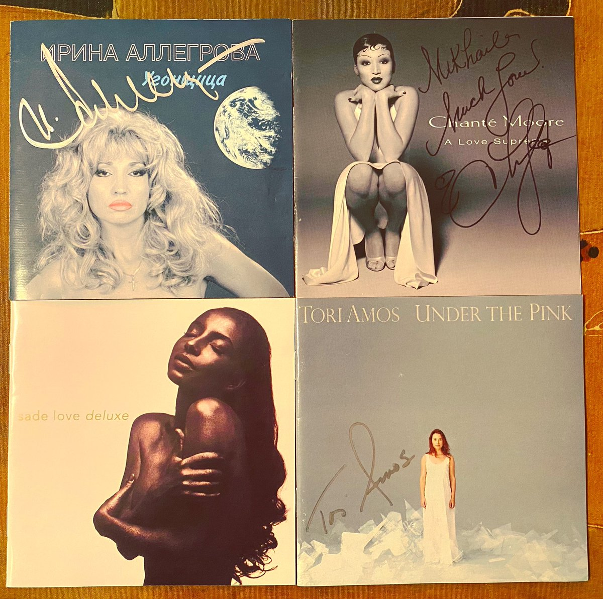 When it comes to full length brilliant albums by the ladies, these would be my Top 4 records I can enjoy start to finish ... with no filler. 3 out of 4 are hand signed by the artists. #Allegrova #Sade #ChanteMoore #ToriAmos #Brilliance #PerfectRecords  3/4 are sophomore albums.