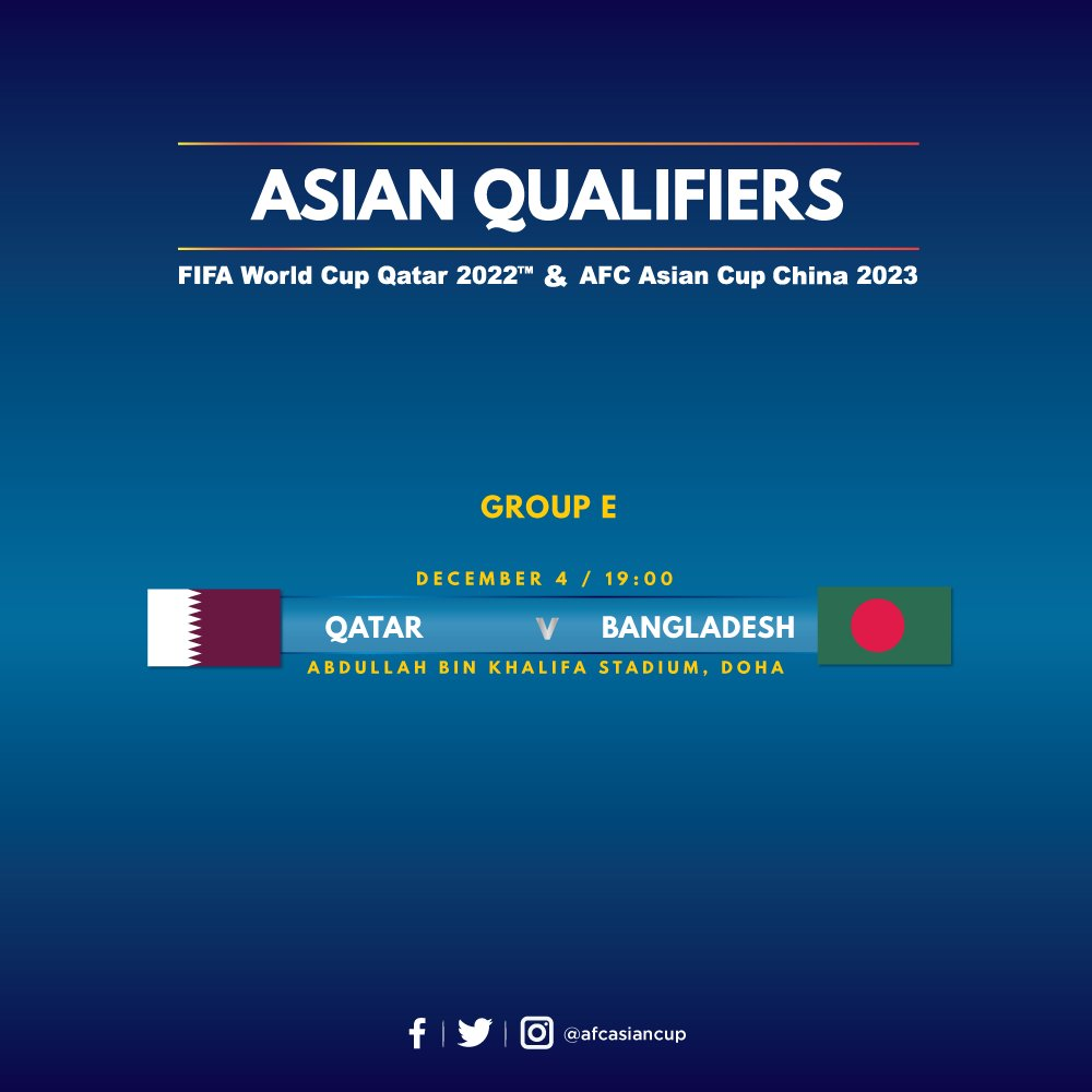 Replying to @afcasiancup: 🇶🇦 @QFA vs @bff_football 🇧🇩   Match Preview: