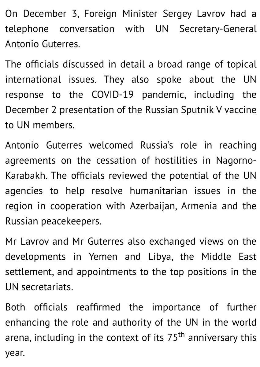 Press release on Russian Foreign Minister Sergey #Lavrov's telephone conversation with UN Secretary-General A. #Guterres () #COVIDー19 #SputnikV #NagornoKarabakh #Yemen #Libya #MiddleEast #UN75