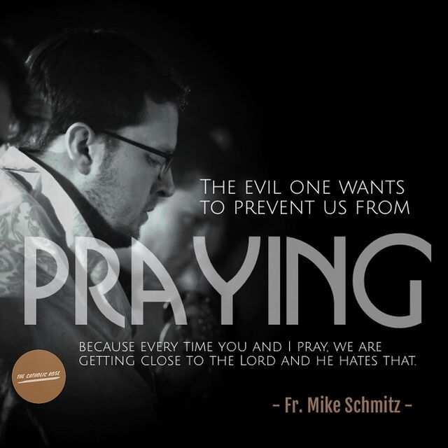"""""""The evil one wants to prevent us from praying because every time you and I pray, we are getting close to the Lord and he hates that."""" - Fr. Mike Schmitz #frmikeschmitz #pray #prayer #prayers #catholics #catholichurch"""
