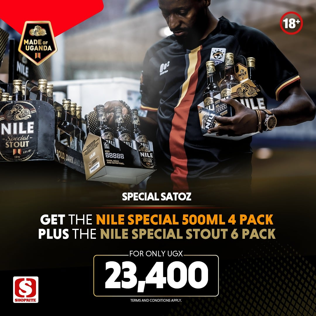 Mix up your weekend with a 6 pack of Nile Special Stout and 4 pack of Nile Special at just 23,400/=. #SpecialSatoz https://t.co/Na8Yy4ePAe
