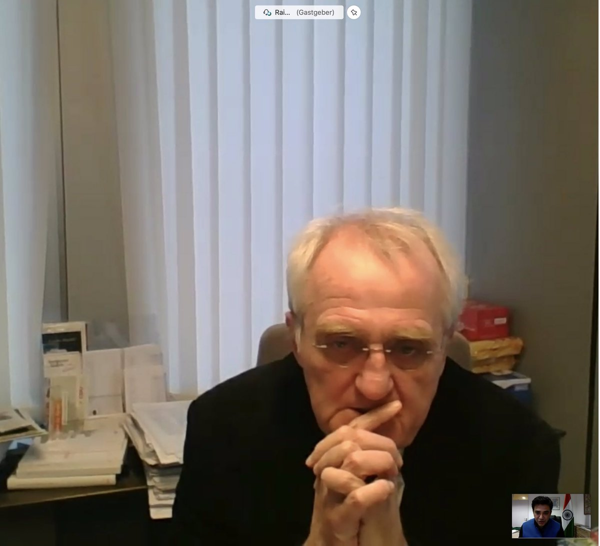 Honor to meet via video conference Hon'ble Vice President of @Europarl_EN H.E. Rainer Wieland on 03.12.2020 & discuss #IndiaGermany trade and investment relationship, threat of expansionism and isolating countries that use terrorism as state policy.