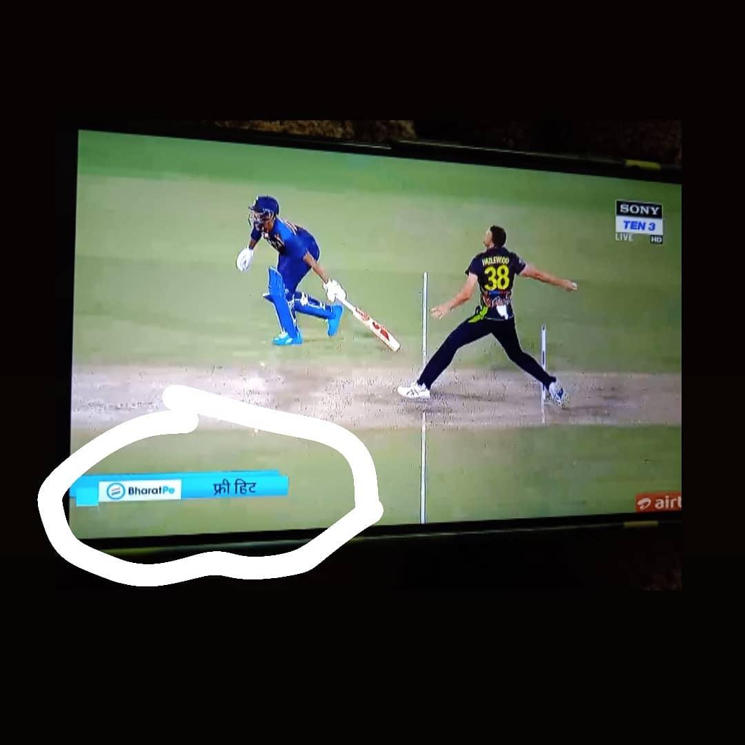 Spotted My Favourite @bharatpeindia 💙🤗 . I hope I am lucky one to win💙🤗💛 . #CricketFever #ContestAlert #SpotOurAd #freehits #TeamBharatPe #WinBig #WinPrizes #cricketgoodies