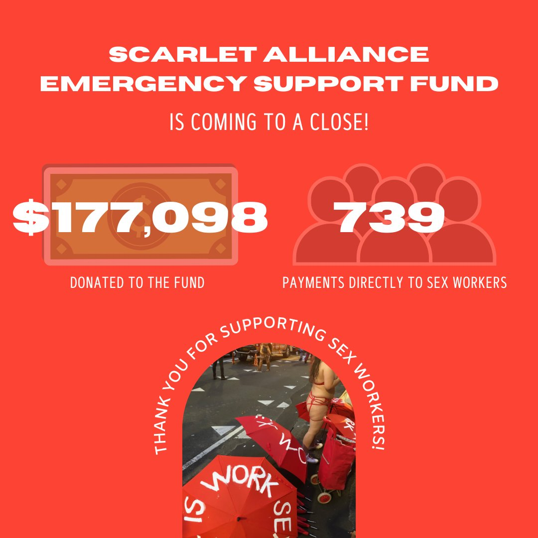 (1) As sex workers across Australia finally begin to return to work in all states and territories, the Scarlet Alliance Emergency Support Fund will be winding down our work for now.