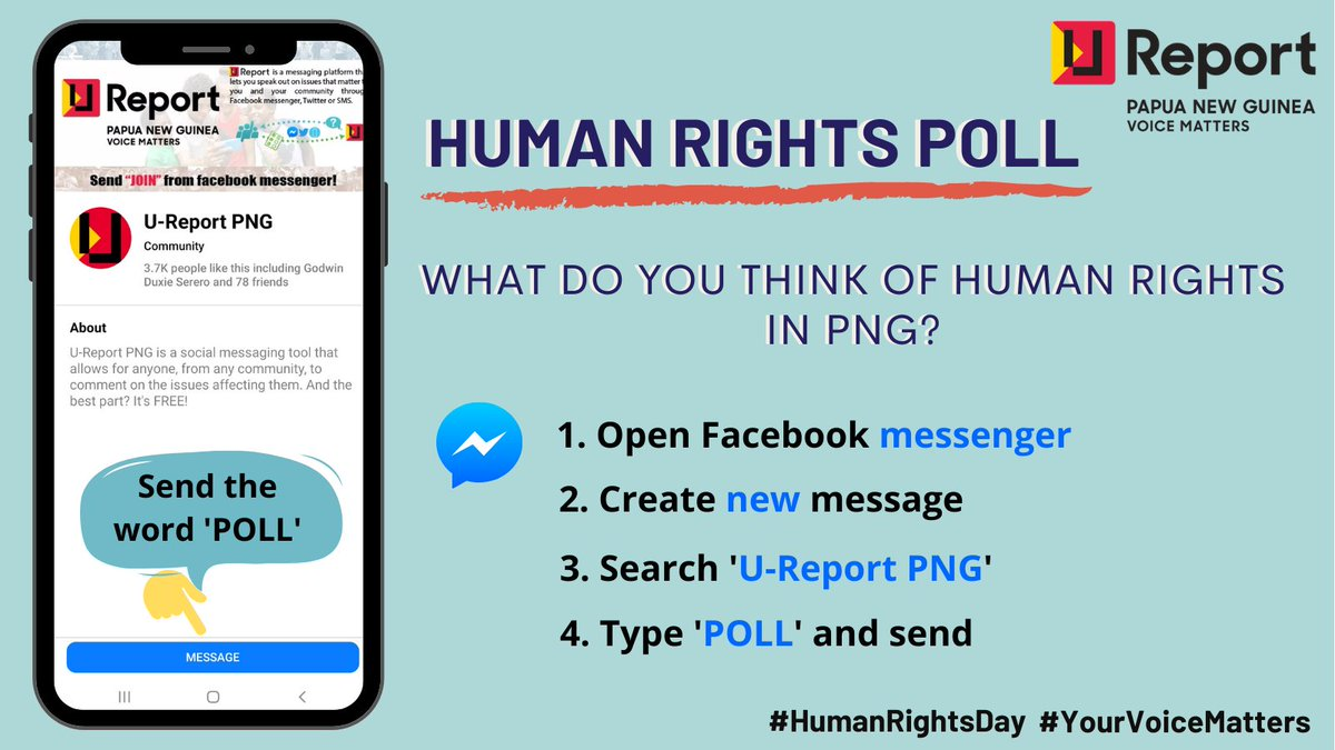 On #HumanRightsDay this year, we want to emphasize the need to work for human rights today and every day. Tell us what you think about human rights in Papua New Guinea. Start NOW! Message 'POLL' to @UReportPNG. #YourVoiceMatters #StandUp4HumanRights #HumanRights4All #Ureport
