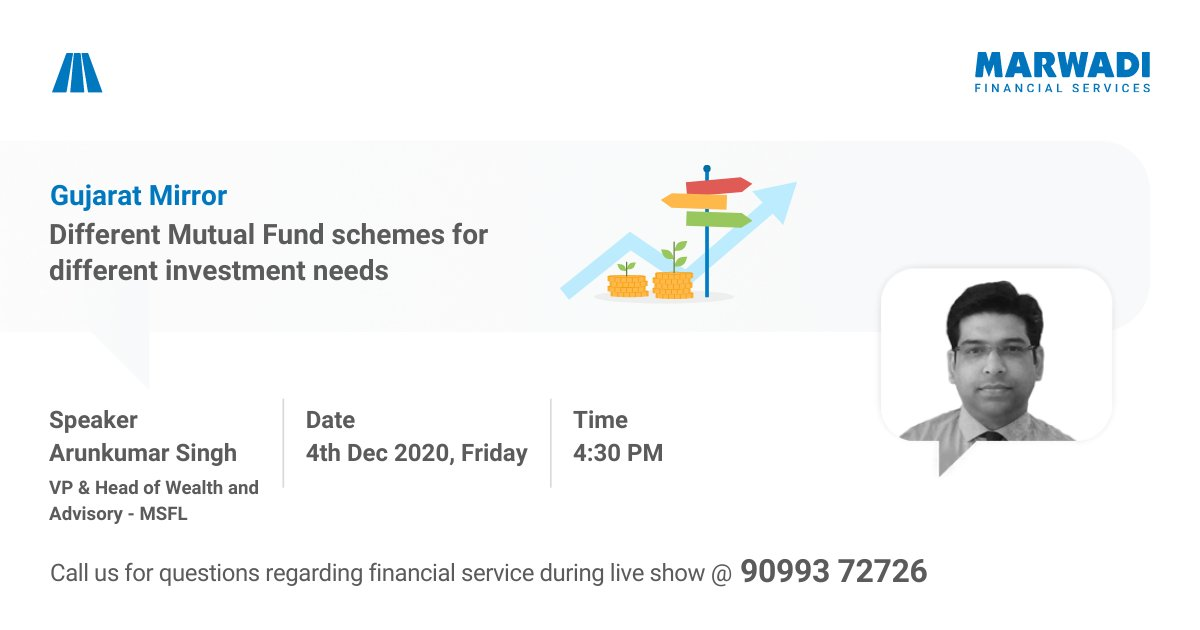 Does every Mutual Fund scheme suit your investment needs? Join Arunkumar Singh @ 4:30 pm VP & Head Wealth and Advisory at MSFL  Facebook:  YouTube:   #mutualfunds #Investment #FinancialFreedom  #mutualfundssahihai #Friday #MSFLIndia
