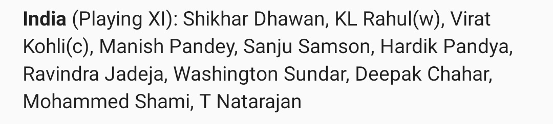 To all those who cried for the last 2 days.....  Manish Pandey and Sanju Samson playing today.  Bumrah misses out #WorkloadManagement   Errihook chahal out , Sundar In👌👌 India winning this #AUSvIND