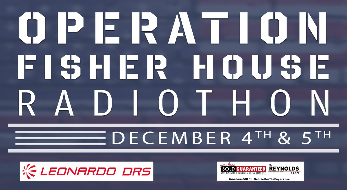 Today is the day!  Our @WMALDC Operation Fisher House Radiothon kicks off with a bang!  Our Friends at @LeonardoDRSnews will match - dollar-for-dollar - the 1st $50k in donations!  Help @FisherHouseFdtn continue their great work by donating today at