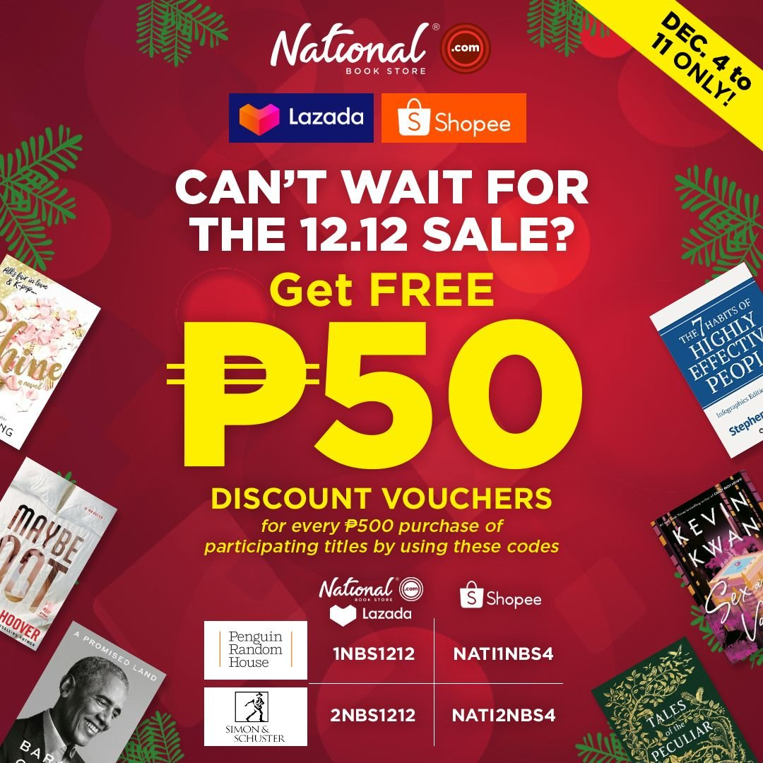 Shop now and get FREE P50 discount vouchers on  and our Shopee and Lazada stores!  Just purchase at least P500 worth of participating titles and use the corresponding codes upon checkout.  Add to cart and checkout now! #NBSbookstagram #NBSsale #NBSeveryday