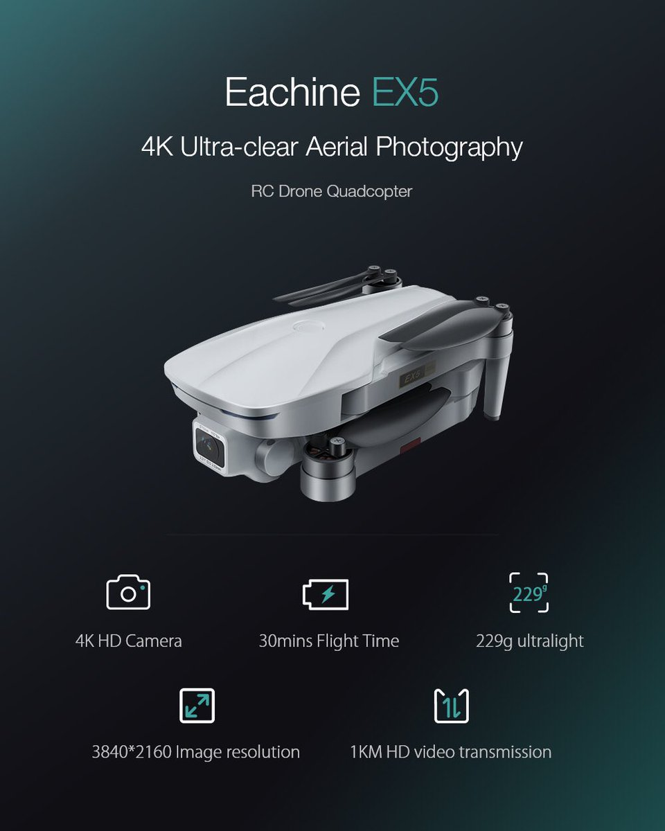 Coming soon to the YT channel! The new upgraded EX5 Mini with 4K EIS Camera, 5GWIFI Image Transmission, Brushless motors, Optical Flow, 1km Range, 30 minutes flight time (25-28 realistically) weighs only 229 grams.  You can purchase it here: https://t.co/olAdFaN9Yd  #eachine #ex5 https://t.co/Eu5RgYGoms