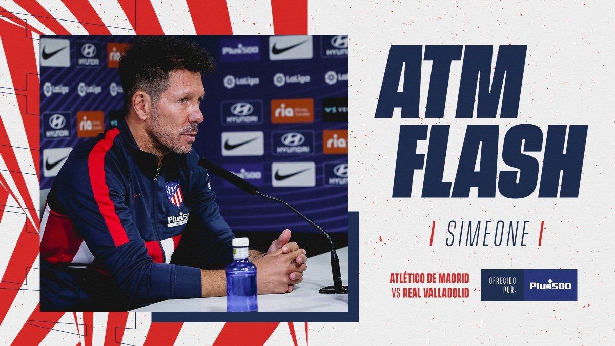 📡🔴 #ATMFLASH 🎙 A partir de las 12:45h podrás seguir en directo la rueda de prensa de @Simeone previa al partido ante el @realvalladolid.   😉¡No te lo pierdas!  🔴⚪ #AúpaAtleti   ⚽ #AtletiRealValladolid