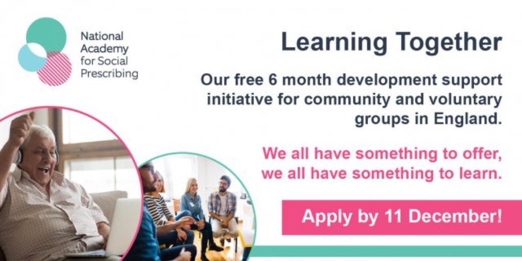 Learning Together is a free regional support initiative for voluntary, community, faith & social enterprise groups & orgs supporting communities through COVID19.   Free to join but places are limited through a selection process, apply by 11 December 2020: https://t.co/6JVkDBOa2A