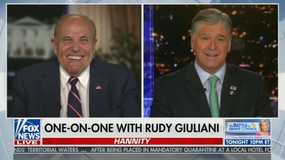 Hannity consoles Giuliani over press conference when 'a little Just For Men came down your cheek' https://t.co/lzuQ9LU6kS https://t.co/BrmshtntaH