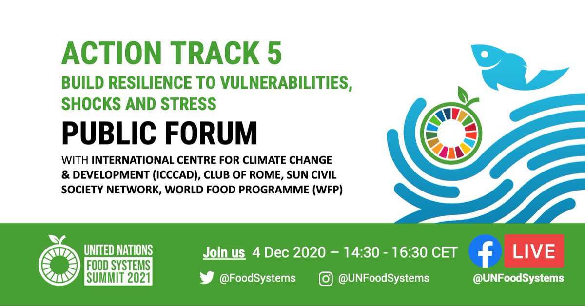 Final call! Join today's @FoodSystems Summit Action Track 5 Public Forum with @ICCCAD @ClubOfRome @SUNCSN @WFP for a dialogue on how to ensure functioning #FoodSystems in conflict or disaster areas  🕝 2:30pm CET ✍️  👉 Via FB Live: