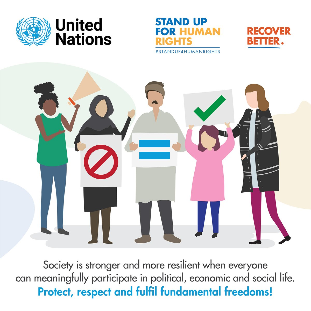 Amid #COVID19, we've seen a sharp rise in stigma and discrimination against a range of populations.  This must stop!  Let's vow to strengthen equality, empathy and #HumanRights, as we seek to #RecoverBetter.  #StandUp4HumanRights #HumanRightsDay
