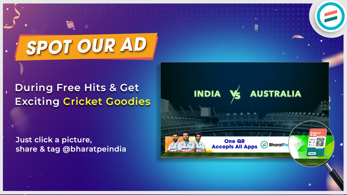 Free hits can be even more rewarding!! Win autographed cricket goodies!  Spot BharatPe Ad during the Ind-Aus series and post it on your social media page. Don't forget to tag us!  #CricketFever #ContestAlert #SpotOurAd #freehits #TeamBharatPe #WinBig #WinPrizes #cricketgoodies