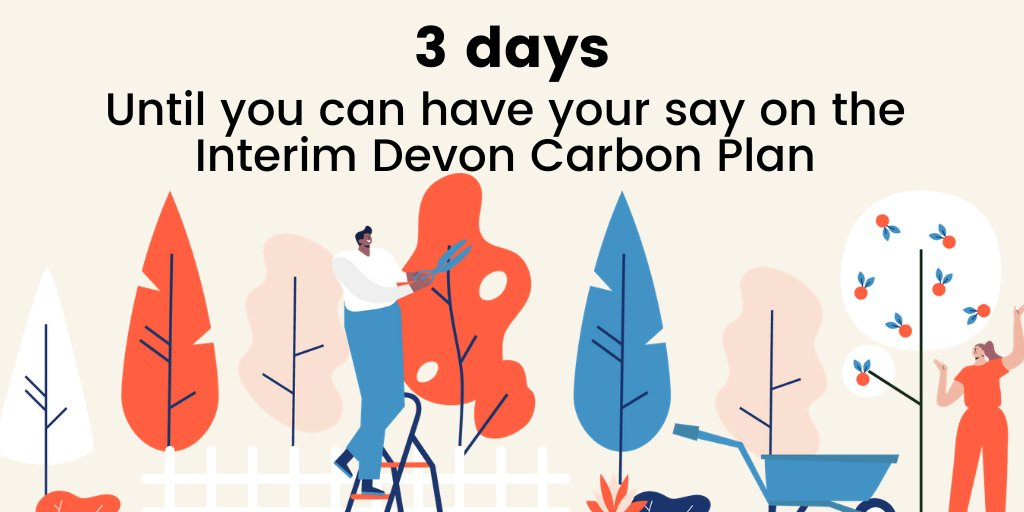 🔔 Only 3 days until the launch of the Interim Devon Carbon Plan! 🔔   This is your chance to have your say on our roadmap to creating a #NetZero carbon Devon where people and nature thrive!  Find out more here 👉