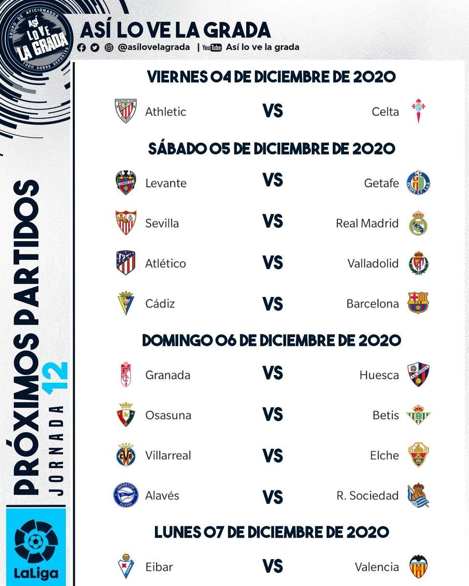 Estos son los partidos de #LaLigaSantander 🇪🇸 en su #JORNADA12 . . #futbol #asilovelagrada #asilovelagradafutbol #laliga #leomessi #realmadrid #barcelonafc #atleti #valencia #messi #modric  #spain #españa #sevillafc #atleticodemadrid #valenciacf #realmadridcf