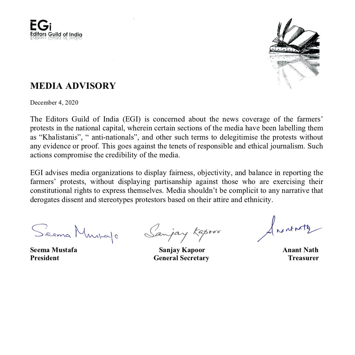 The Editors Guild of India has issued a Media Advisory on the news coverage of the ongoing farmers' protests in the national capital.