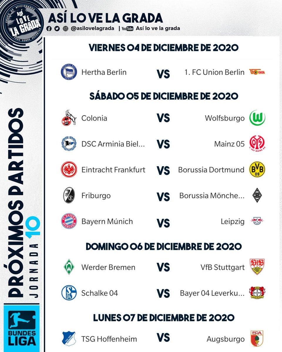 #JORNADA10 Estos son los partidos de la Bundesliga. Por: @asilovelagrada. . . #futbol #bundesliga #borussiadortmund #bayernmunich #herthaberlin #asilovelagrada #asilovelagradafutbol #jornada10 #germany #alemania #deutschland #soccer #munich #bayernmunchen #leipzig #bvb https://t.co/mfTssqEYZ8