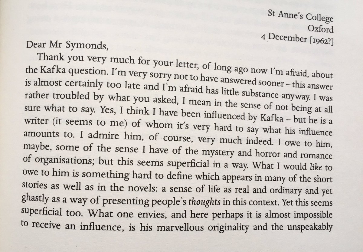Murdoch on Kafka in a letter to John Symonds, 4 December 1962[?] #otd #onthisday   Published in 'Living on Paper: Letters from Iris Murdoch 1934-1995', edited by Avril Horner and Anne Rowe.