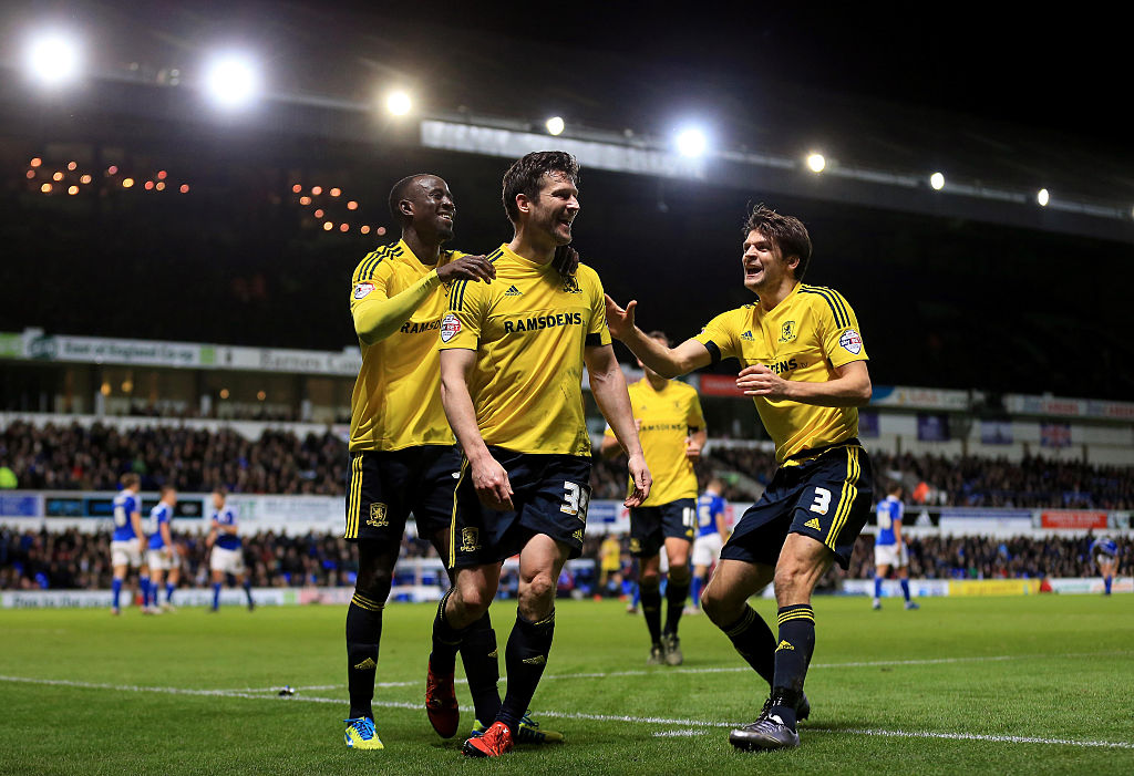 #OnThisDay in 2015, #Boro went top of the Championship after a 2-0 win at Ipswich.  Cristhian Stuani and David Nugent scored the goals at Portman Road ⚽⚽
