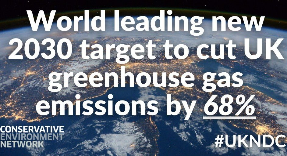 Amazing news that ahead of #COP26, @BorisJohnson has set an ambitious new target to reduce UK emissions by 68% by 2030, compared to 1990 levels. This will further enhance our global leadership credentials and set us on the path to #NetZero by 2050. 🌍🇬🇧🦋🐝 #TogetherForOurPlanet