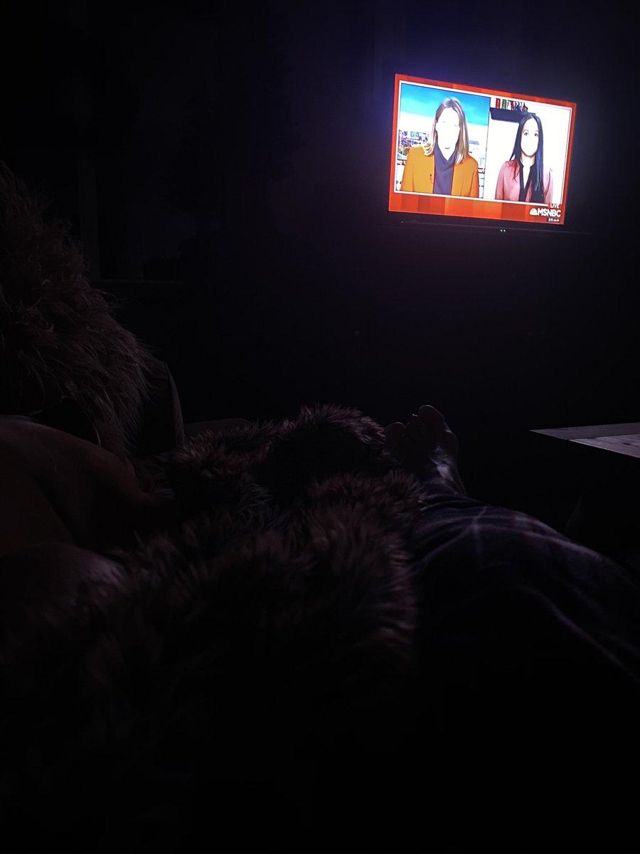 @kasie @WayTooEarly Snuggled up on sofa with my rescue Pit Nigel watching #WayTooEarly !