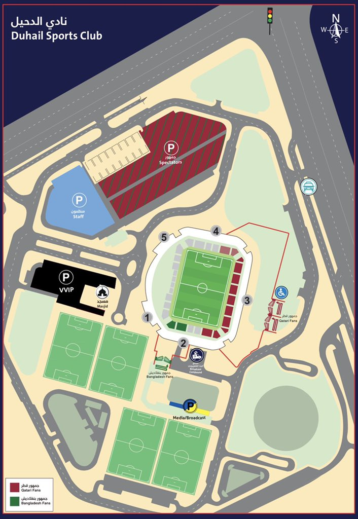 🅿️ Parking map for fans attending tonight's game between Qatar 🇶🇦 and Bangladesh 🇧🇩   #QFA #AsianQualifiers