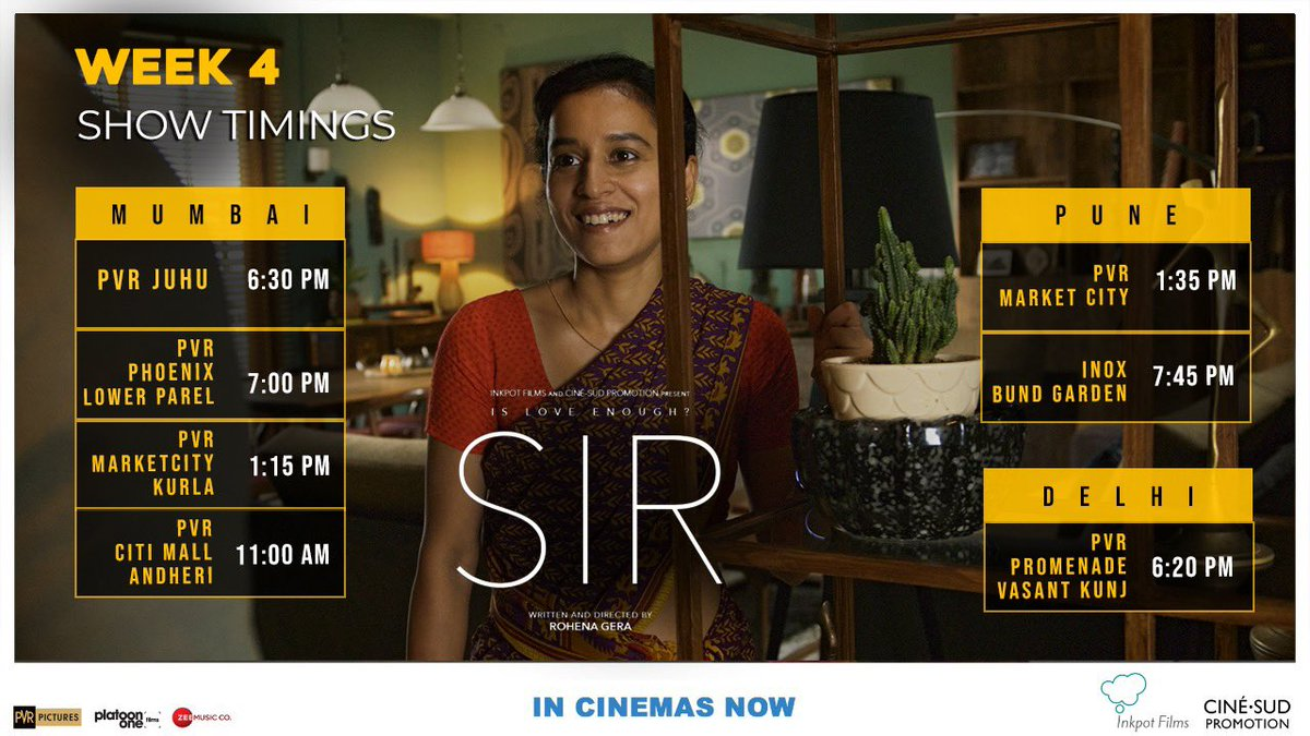 #Sirthe film is now in week 4 in select cinemas! Thank you ⁦to each person who bought a ticket. And thank you ⁦@_PVRCinemas⁩ ⁦@kamalgianc⁩ and team. And a big thanks to ⁦@ShiladityaBora⁩ ⁦@PlatoonOneFilms⁩ for a passionate marketing/distribution campaign.