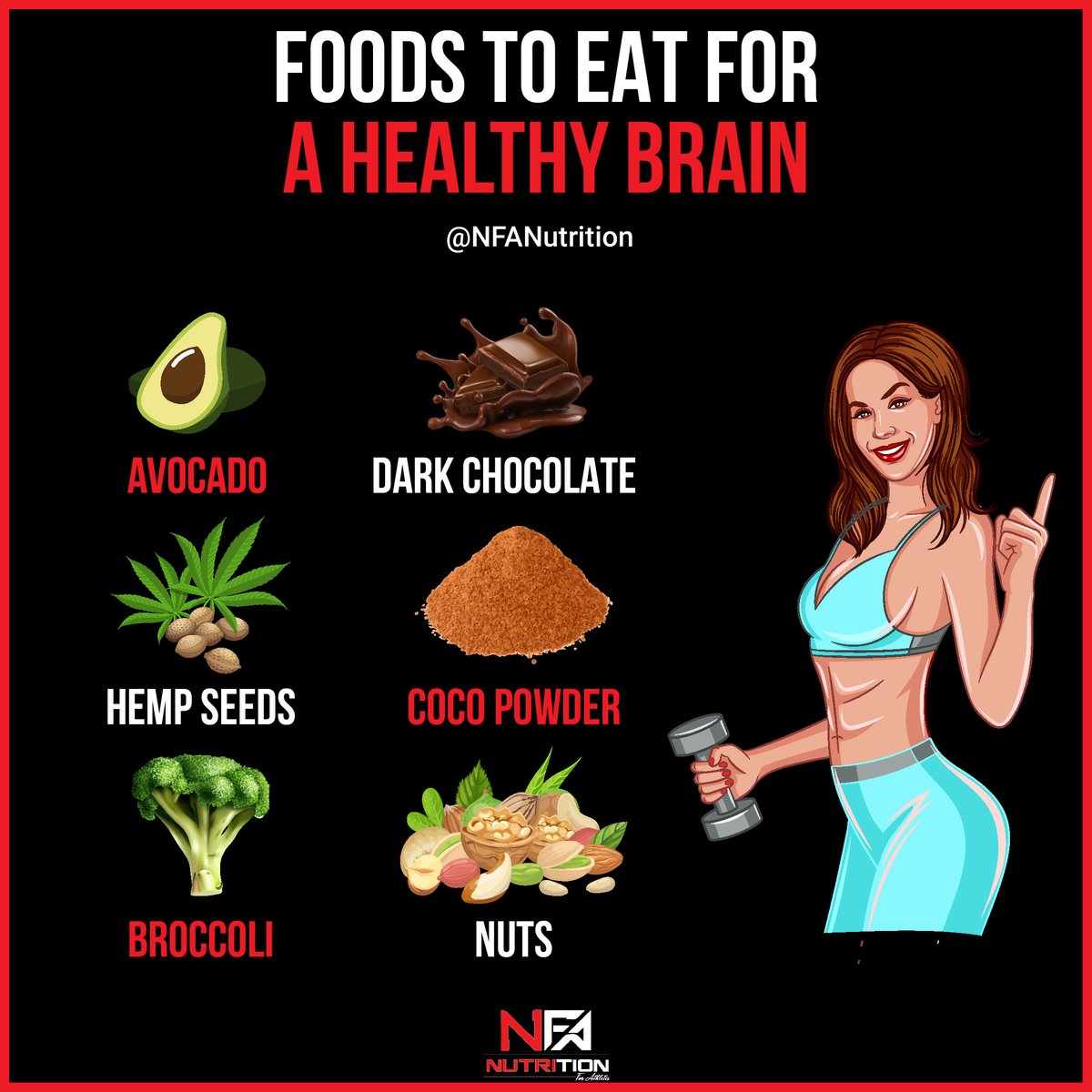 Here's 6 foods that you can eat for a healthy brain! 1) AVOCADO 2) DARK CHOCOLATE (PS THIS IS ONLY A CHEAT TREAT!) 3) HELP SEEDS 4) COCO POWDER 5) BROCCOLI 6) NUTS https://t.co/gt7IB2Oubx