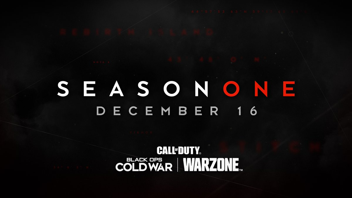 Season One is coming.  An unprecedented drop of free content arrives in #BlackOpsColdWar and #Warzone on 12/16.  Intel here: