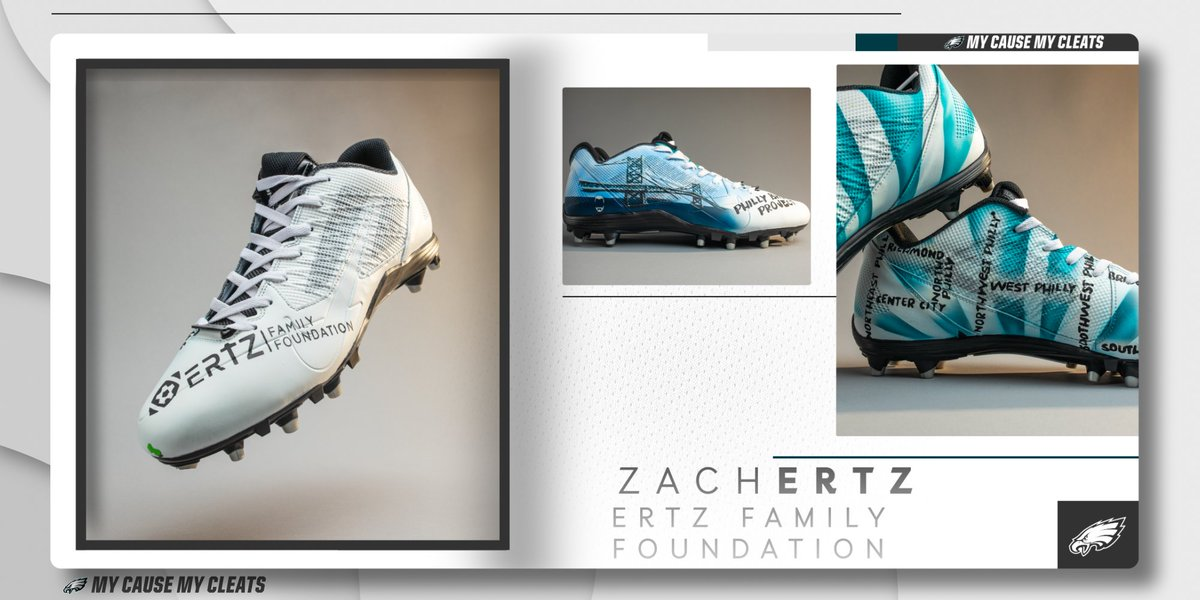 .@ZERTZ_86 is bringing attention to Philly's underserved youth with this year's @ErtzFoundation design.  #MyCauseMyCleats