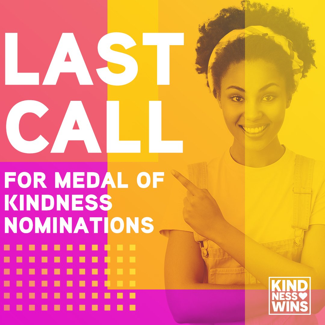 Today is the LAST DAY to nominate someone for an official Medal of Kindness for 2020! Nominations close at 5pm (EST) and winners will be announced on December 18 via our #kindnesswins champions @MikaelaShiffrin @oksanamasters and @Madison_Keys 