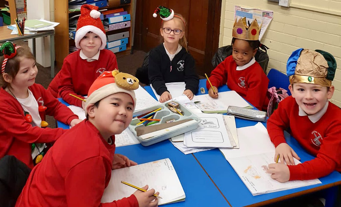It is @ClaireHouse Christmas Hat Day today.  Everyone is spreading a little Christmas cheer around school.