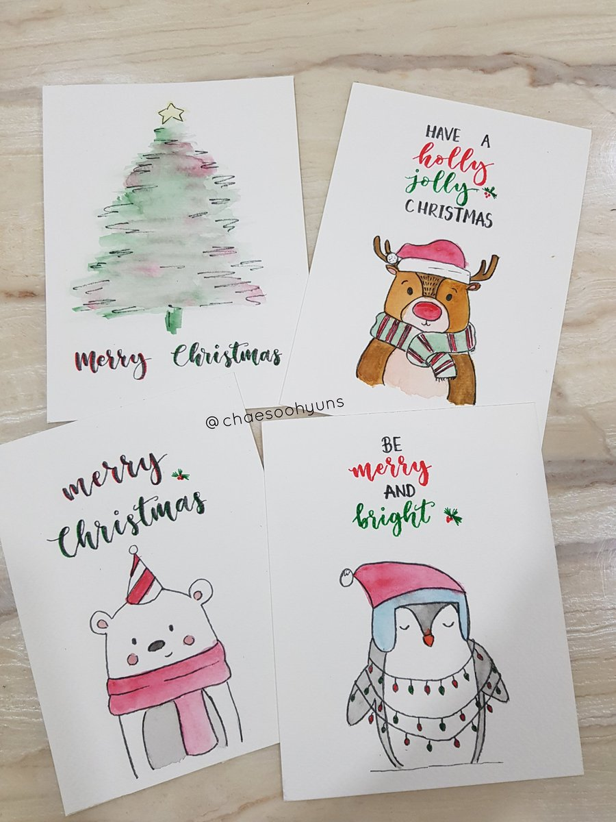 I spent the whole day doing these Christmas cards for my mom, godmom and two bosses lmao 😂 🎄