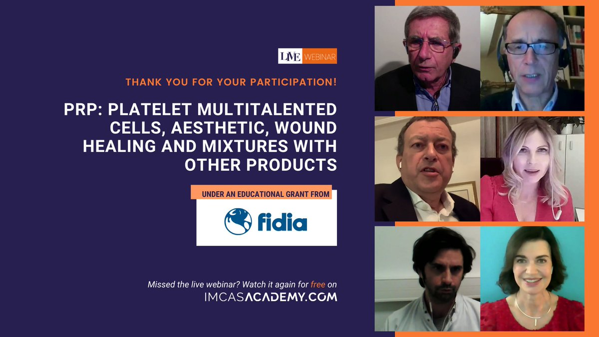 "- REPLAY THE WEBINAR -  An enormous thanks to the 500+ LIVE viewers who joined us for the IMCAS Academy webinar on ""PRP: Platelet multitalented cells, aesthetic, wound healing and mixtures with other products."" Now you can replay it for free here 👉 https://t.co/LdvtKRaQrq https://t.co/S9k4y5x8L5"
