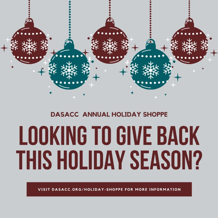 🎄Are you looking to give back this holiday season?🎄  Support DASACC's annual Holiday Shoppe from 12/9 through 12/12 and help give back to families in need in our Warren and Hunterdon County communities.   Visit https://t.co/t4hNY68jHt for more information. #DASACCsma https://t.co/cJBU30fNQJ