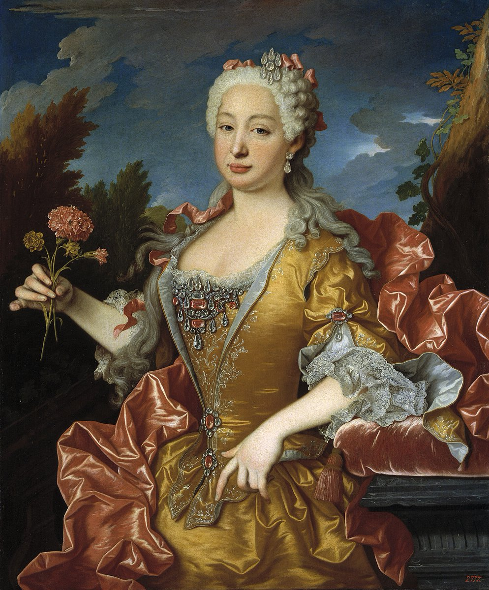 Born #OnThisDay in 1711: #BarbaraofPortugal (1711-58), Queen of Spain as spouse of #FerdinandoVI   Portrait by #JeanRanc (1674-1735), ca. 1729   #Braganza #Bourbon