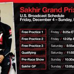 More civilised session times for our 🇺🇸 fans this weekend!   Here's the TV schedule 📺   #HaasF1 #SakhirGP