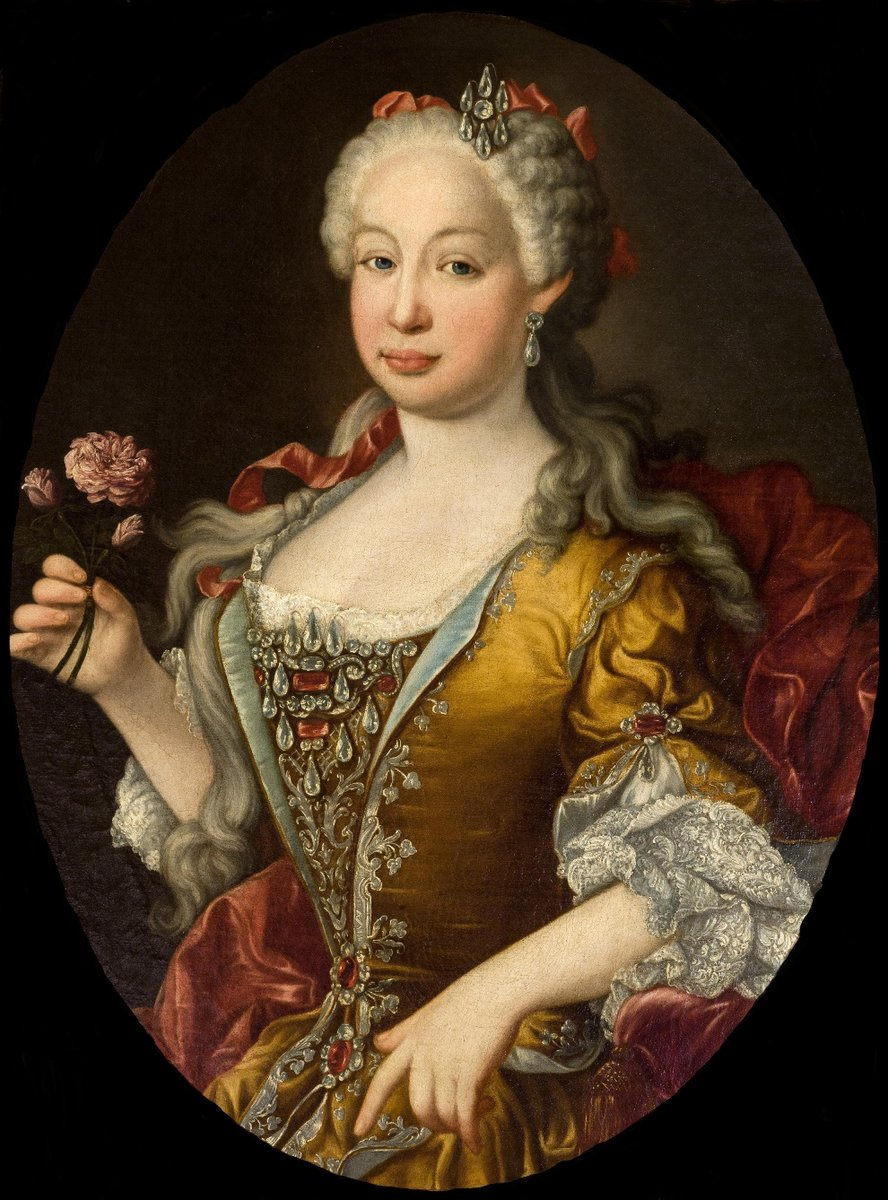 Born #OnThisDay in 1711: #BarbaraofPortugal (1711-58), Queen of Spain as spouse of #FerdinandoVI   Portrait attributed to #LuisEgidioMeléndez  (1716-80) after  #JeanRanc (1674-1735), ca. 1729-35  #Braganza #Bourbon