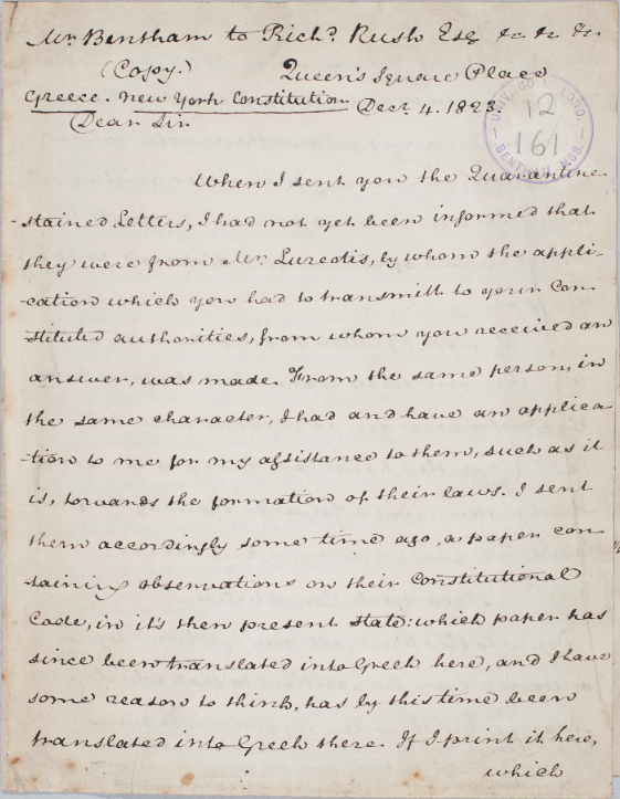 'Dear Sir  When I sent you the Quarantine-stained Letters...'  Bentham, writing perhaps the most ominous opening to a piece of correspondence in the Bentham Papers (to Richard Rush), #onthisday in 1823.  UC xii. 161 (4 December 1823); Correspondence (CW), xi. 328.