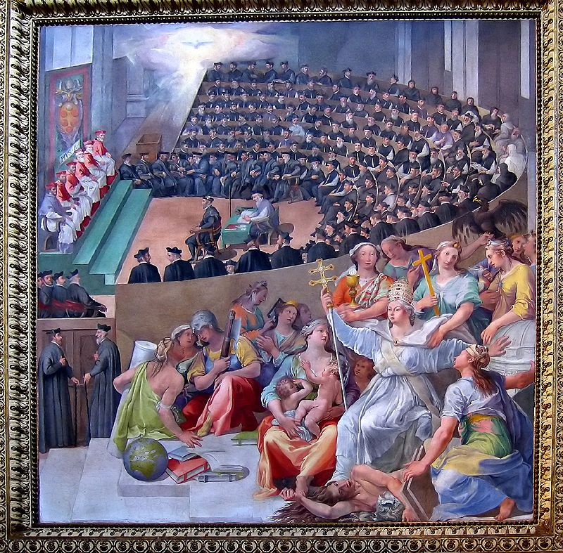 #OTD 1563 Council of Trent (started in 1545) held its last session, during the pontificate of Pius IV, bringing it to an end. #History #OnThisDay   The Council of Trent, depicted by Italian Mannerist painter Pasquale Cati